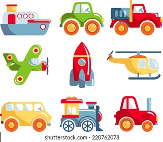 Set of toys transportation on white background. Vector illustration