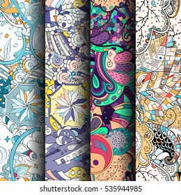 Set of tracery colorful seamless patterns. Curved doodling backgrounds for textile of printing with mehndi and ethnic motives. Vector.