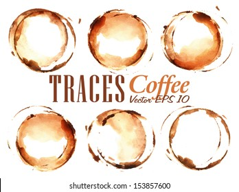 Set traces cup drawn pour coffee splashes and blots prints.