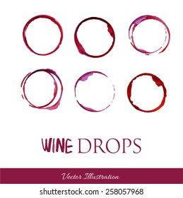 Set traces glass draw pour wine splashes drops and spot print.