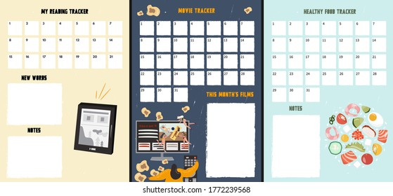 A set of trackers to track good habits. A reading tracker, healthy food and movie tracker. Nice vector flat illustration in cartoon style. Different trackers to develop useful habits.