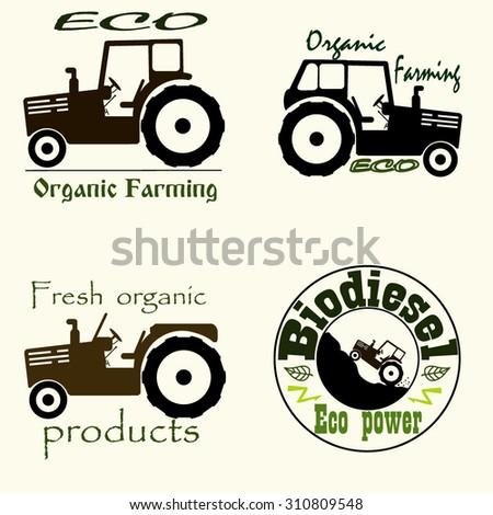 set tractor logo design template eco stock vector royalty free