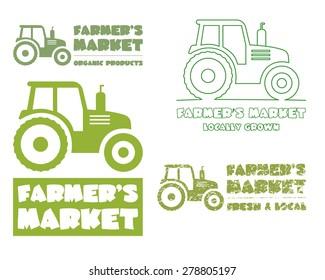 Set of Tractor logo template. harvest or farm icon. Thin line, silhouette design. Organic farmer.'s market. Eco theme. Vector illustration
