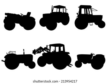 Set of tractor silhouettes on white background, vector illustration
