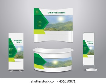 Set of trade exhibition stand with cover presentation abstract geometric background, With mountain landscape and blue sky background, Vector illustration modern design layout template