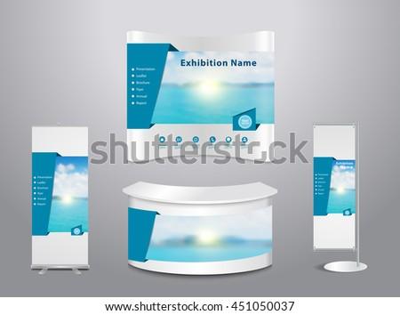 Exhibition Stand Design Presentation : Set trade exhibition stand cover presentation stock vector