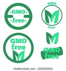 a set of trade marks depicting and informing about the absence of GMOs in the product. Logo without GMO green with leaves