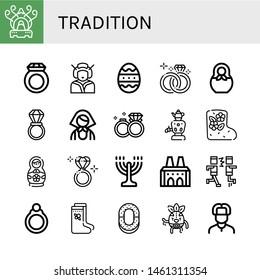 Set of tradition icons such as Incense burner, Ring, Geisha, Easter egg, Wedding ring, Matryoshka, Russian, Wedding rings, Samovar, Valenki, Matryoshka doll, Diamond ring , tradition