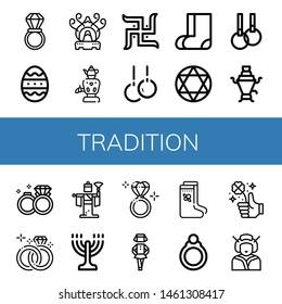 Set of tradition icons such as Wedding ring, Easter egg, Incense burner, Samovar, Swastika, Rings, Valenki, Torah, Wedding rings, Kabuki, Menorah, Diamond ring, Irish , tradition