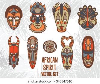 set of traditional african masks, vector illustration