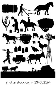 Set of traditional agriculture icon symbol, vector
