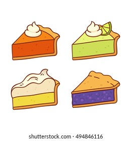 Set of traditional American pies illustrations: Pumpkin, Key Lime, Lemon Meringue and Blueberry pie. Cute cartoon vector drawings.