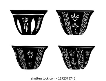 Set of Traditional Arabic Lebanese Turkish Saudi Arabian Coffee Cups in Black & White - Vector Illustration Isolated Icon