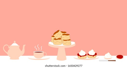Set of traditional British cream tea with teapot, a cup of tea on a saucer, two scones with jam and cream on a plate, butter knife. Doodle afternoon tea,tea party, buttermilk biscuits background.
