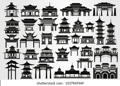 Set of traditional chinese buildings, houses and gates. Chinese architecture in black and white.