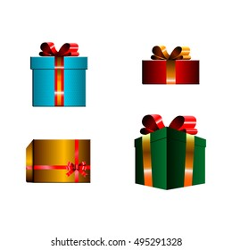 Set of traditional christmas presents, Vector illustration