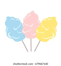 Set a traditional cotton candy. Cotton candy in flat style isolation on a white background. Vector stock.