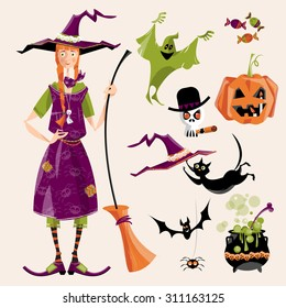 Set of traditional elements of Halloween. Witch with a broom; cauldron, cat, hat, bat, candy, ghost, spider, pumpkin, skull. Vector illustration