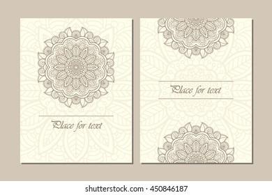 Set of traditional flower mandala ornament illustration concept. Vintage art traditional islam, arabic, indian, ottoman motifs, elements. Vector decorative retro greeting card or invitation design.
