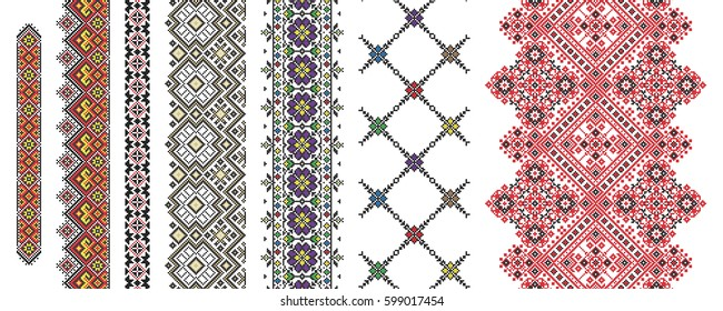 Set of traditional folk art knitted embroidery pattern