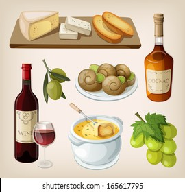Set of traditional french drinks and appetizers
