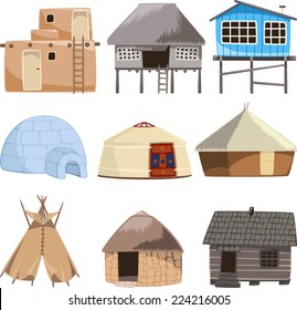 Set of traditional housed vector illustration.