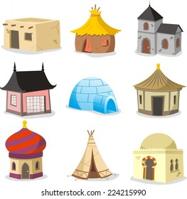 Set of traditional houses vector illustration.