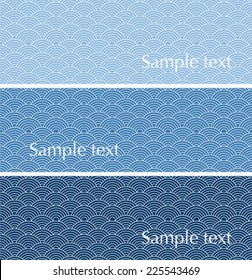 Set of traditional Japanese wave pattern horizontal banners with space for text