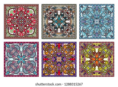 set of traditional kalamkari ornamental floral paisley design. Ornament background. You can use this pattern in the design of carpet, shawl, pillow, cushion, vector illustration collection