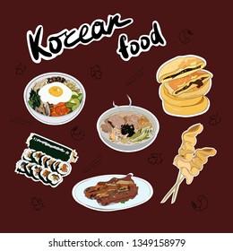 Set of  traditional Korean dishes stickers. Lettering Korean food. Bibimbap, guksu, gimbap, oden, galbi-gui, hotteok. Vector hand drawn illustration for your business.