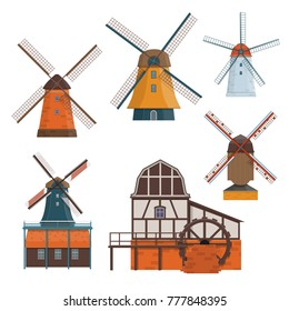 Set of traditional rural windmill and watermill. Vector illustration