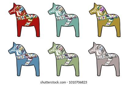 Set of traditional Swedish horses, vector