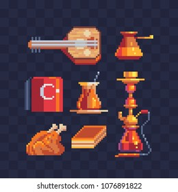 Set of traditional turkish cultures elements Part1. Red turkish hat fez, hookah, saz music instrument,  isolated vector pixel art 80s style  illustration. 8-bit sprite. Design stickers, logo, app.
