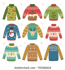 Set of traditional ugly Christmas sweaters. Funny holiday clothes with different cute prints and ornaments