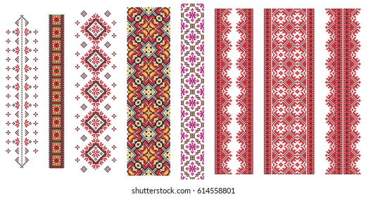 Set of  traditional Ukrainian folk art knitted embroidery pattern.