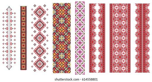 Set of  traditional Ukrainian folk art knitted embroidery pattern.