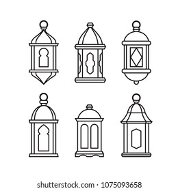 Set of  traditional vintage arab lanterns. Isolated line icons, modern design. Vector illustrations for muslim holiday Ramadan Kareeem