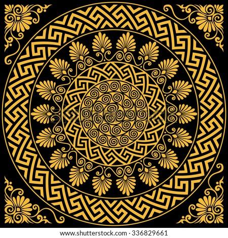 817bfb6c3528 set Traditional vintage golden round Greek ornament Meander and floral  pattern on a black background