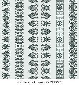 Set Traditional vintage Greek ornament Meander and floral pattern borders