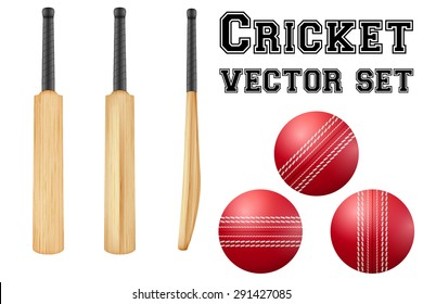 Set of Traditional wood cricket bats and balls. Vector Illustration on isolated white background.