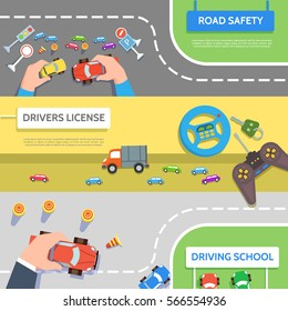 Set traffic horizontal banners driving school road safety in flat style.Vector illustration drivers education concept