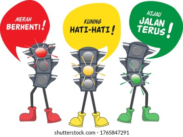 Set traffic light. Follow the rules of the road in Indonesian. Red, stop (merah berhenti). Yellow, caution (kuning hati-hati). Green, continue (hijau, jalan terus). Vector illustration. Isolated.