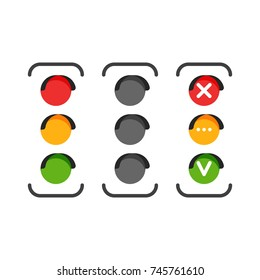 Set of traffic light icons. Red, yellow and green signal lights. Yes, no and wait concept symbol. Vector illustration isolated in white background