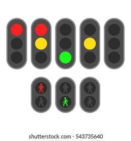 Set of traffic lights. Flat signal icons. Semaphore design. Vector illustration isolated on white background.