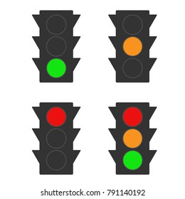 Set of traffic lights icons. Vector.