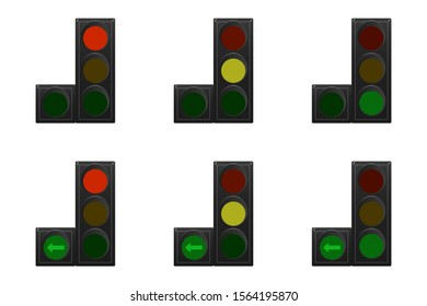 Set of traffic lights. Red, yellow and green. Arrow turn left. Vector illustration.