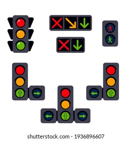 Set of traffic lights: reversible, pedestrian, automobile, with an additional section in a flat design. Traffic control tool on isolated white background. Vector stock illustration