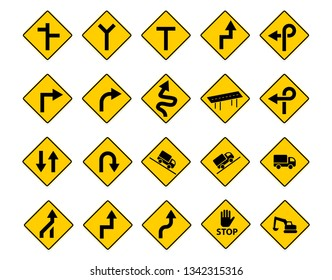 Set of traffic sign in vector art design