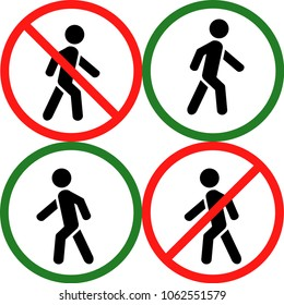 Set the traffic symbol and prohibition on movement of people. A person goes and is not included in a set of icons. On a white background. Vector illustration.