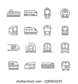 Set of train Related Vector Line Icons. Contains such Icons as tram, rails, metro, subway, underground and etc. - Vector